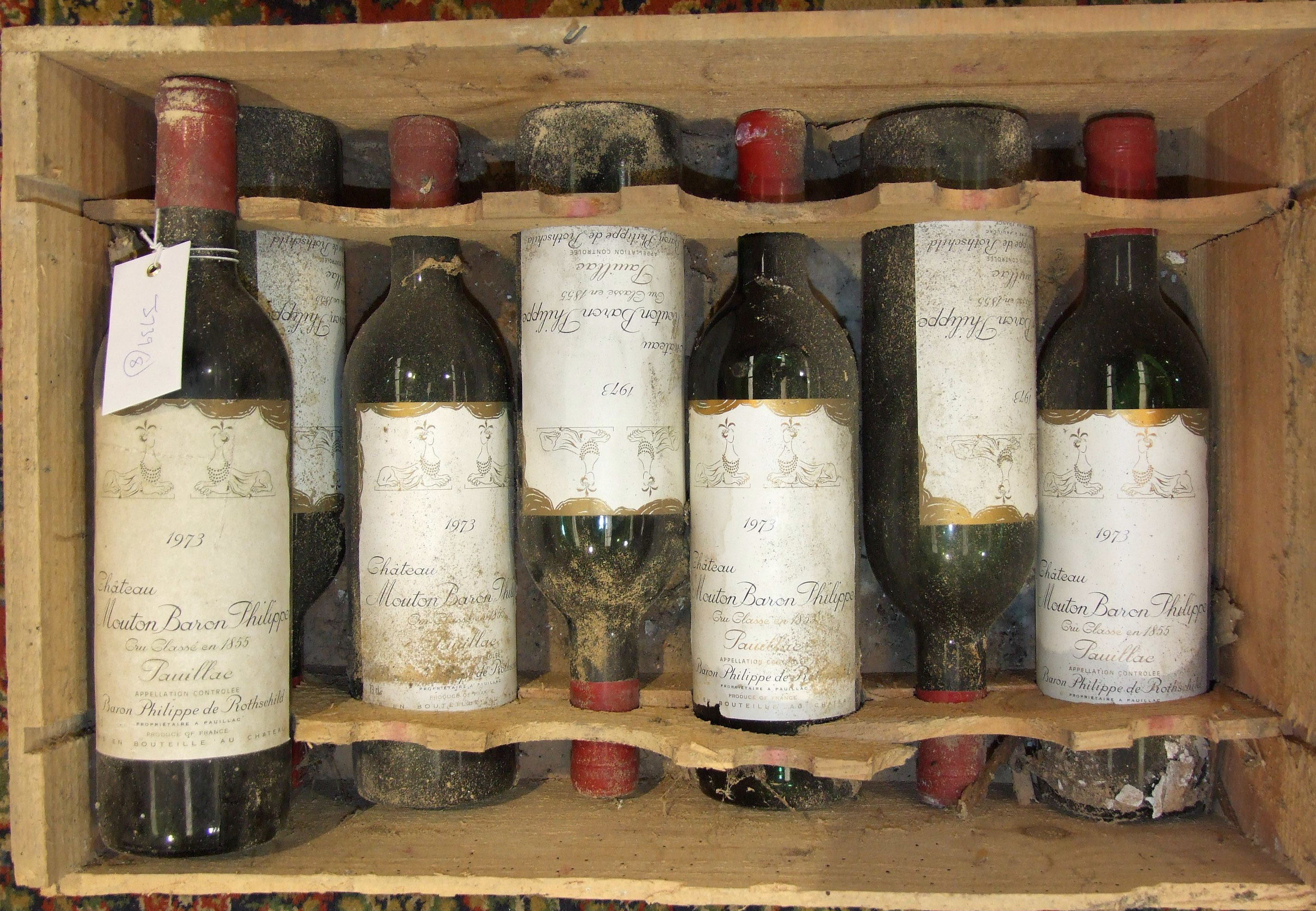 Lot 8 - France, Chateau Mouton Baron Rothschild 1973, low shoulder, good labels, OWC (damaged), seven