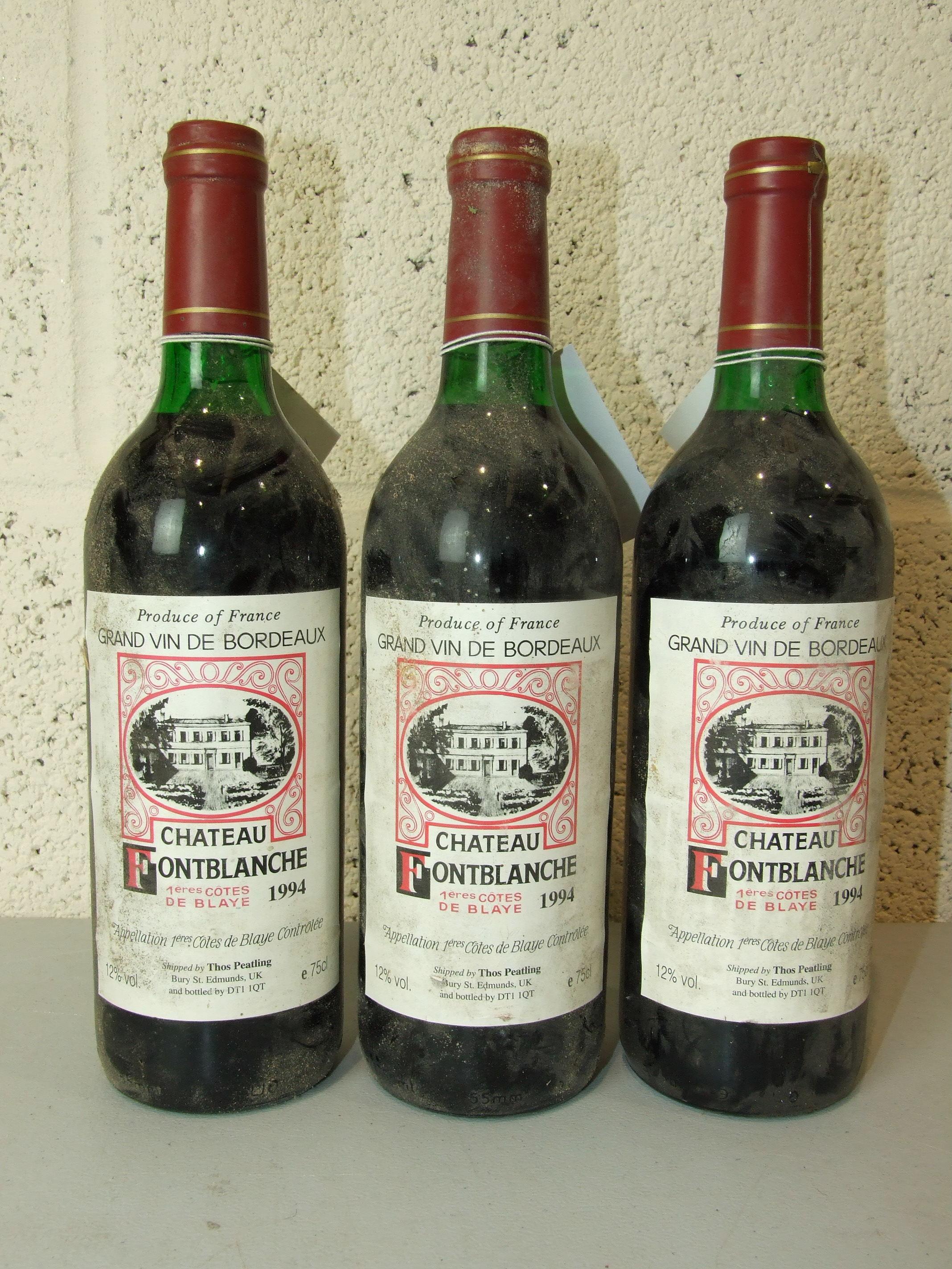 Lot 1 - France, Chateau Fontblanche 1994, high shoulder, good labels, three bottles, (3).