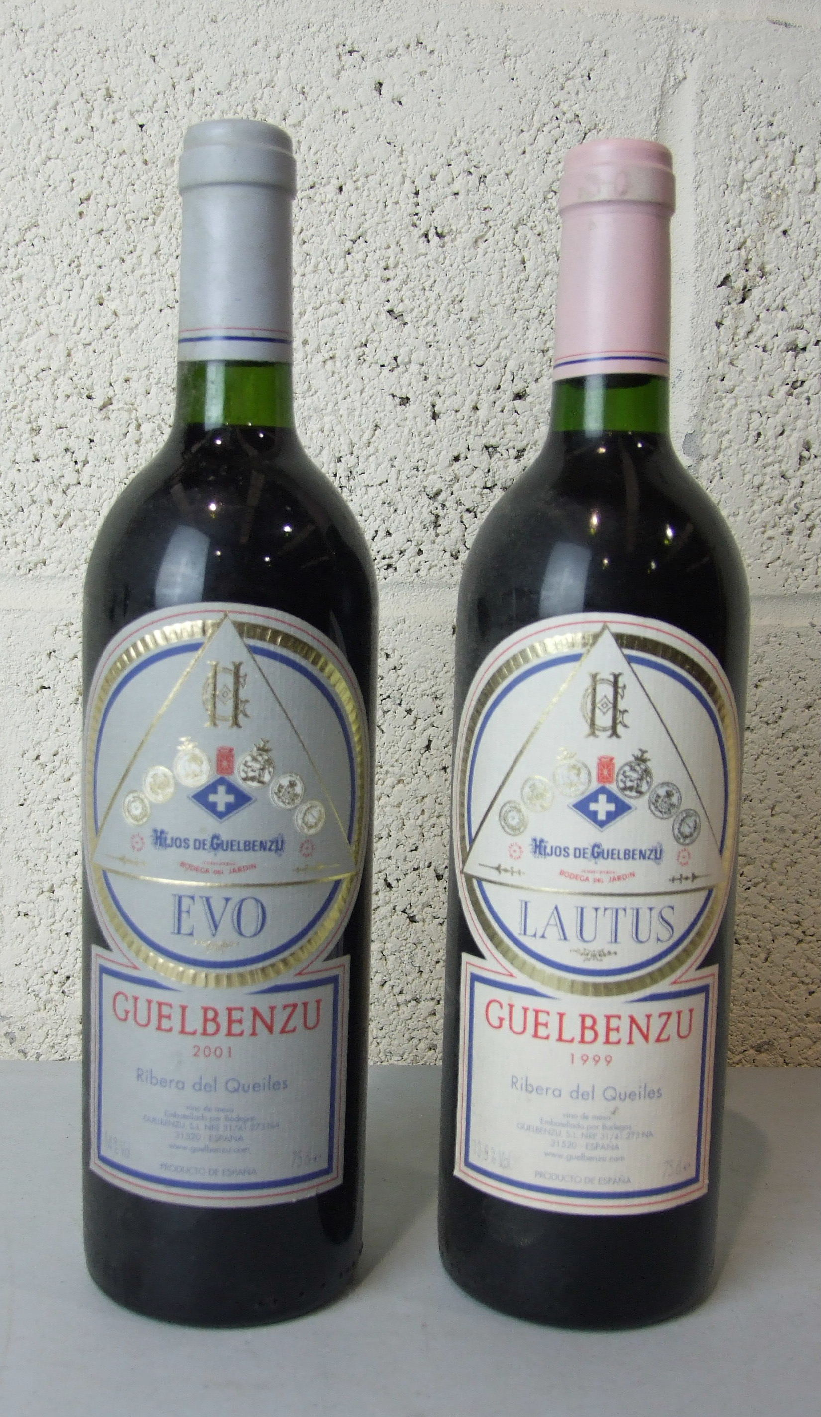 Lot 40 - Spain, Guelbenzu Ribera del Queiles Evo 2001, one bottle, 2003, three bottles, Lautus 1999, one