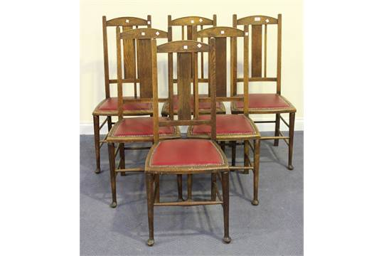 A Set Of Six Early 20th Century Arts And Crafts Style Oak Splat Back Dining Chair