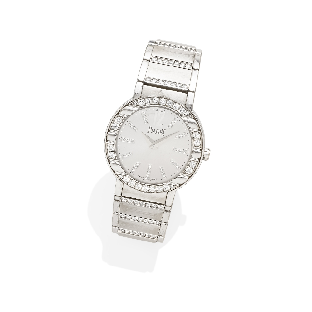 A Lady's Diamond and 18k White Gold 'Polo' Bracelet Watch, Piaget - Image 2 of 2