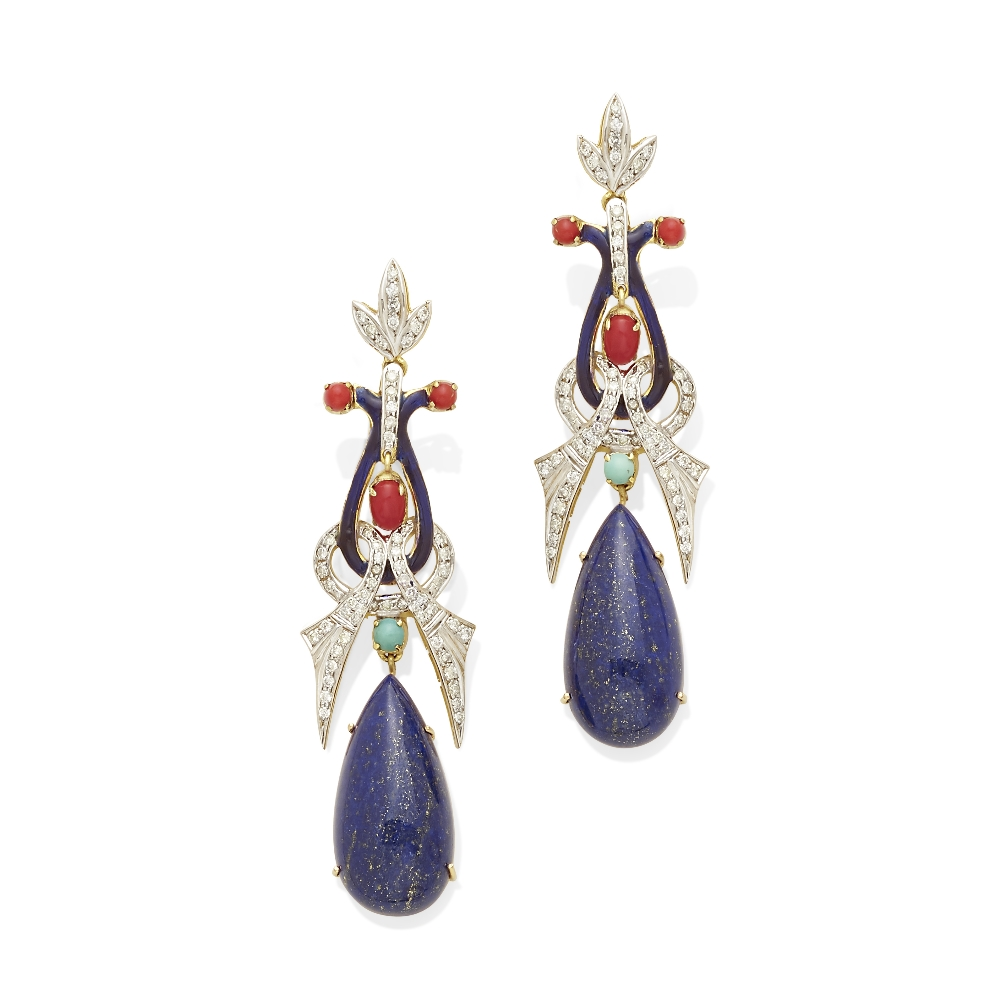 A pair of diamond, lapis lazuli, coral and turquoise ear pendants