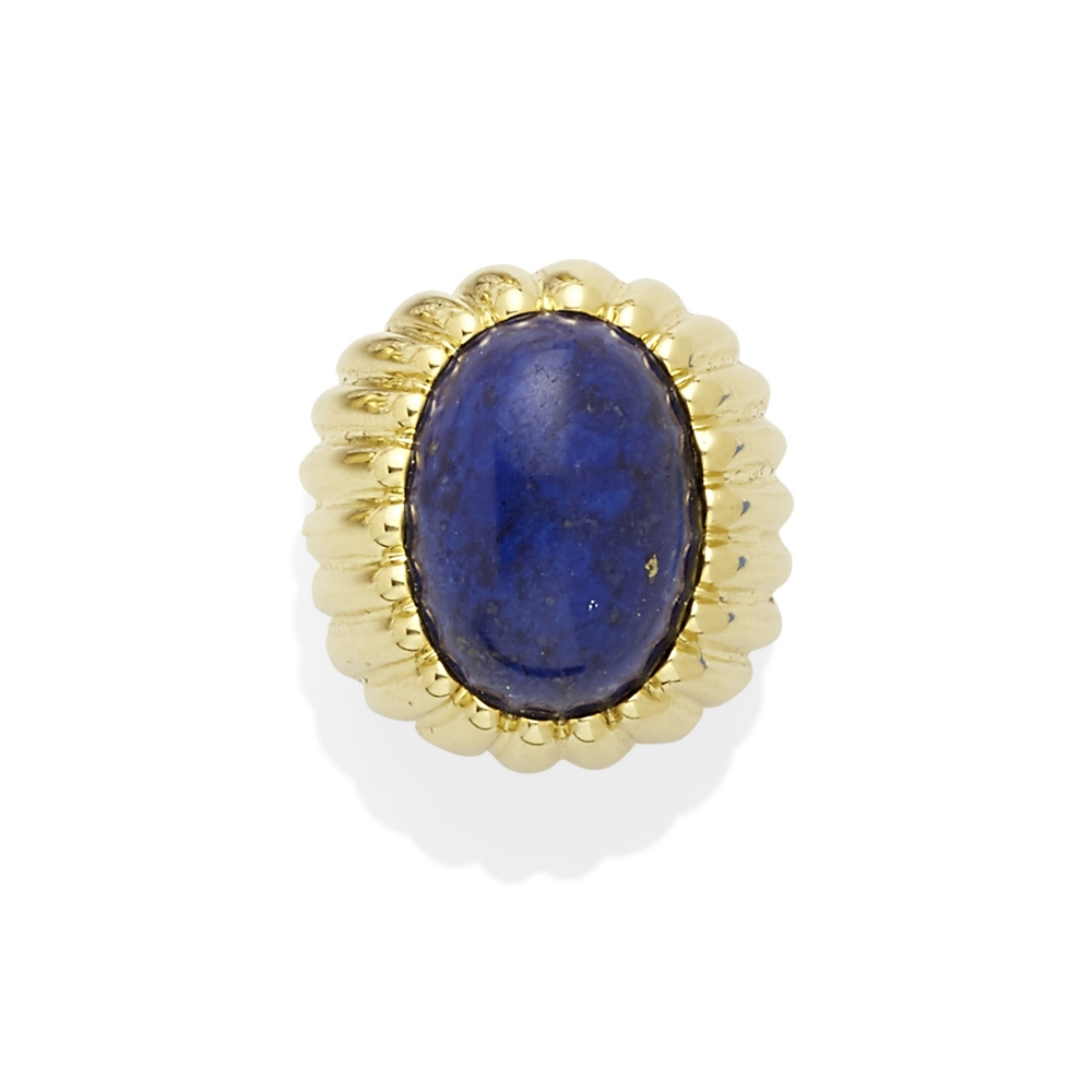 A lapis lazuli cabochon ring - Image 2 of 2
