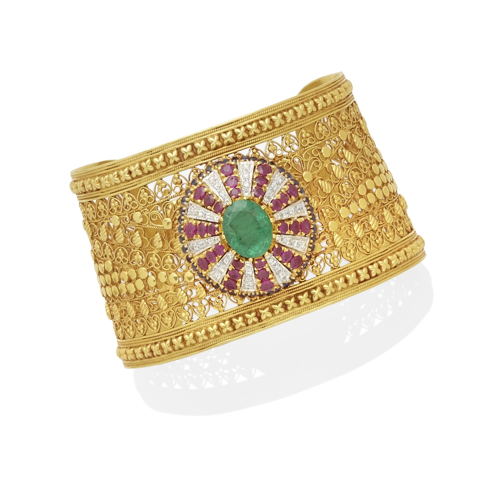 Lot 23 - A multi-gemstone and diamond cuff bracelet