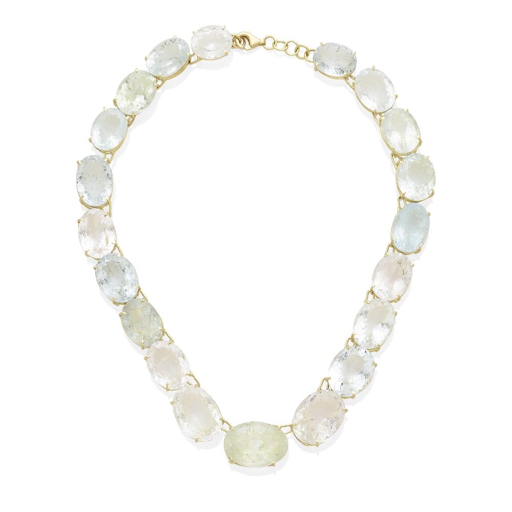 A multi-color beryl rivière necklace