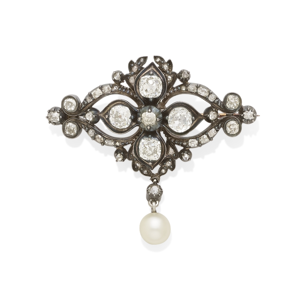 A diamond and cultured pearl brooch