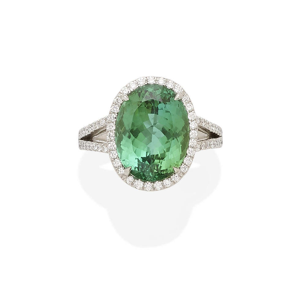 A green tourmaline and diamond ring, Tiffany & Co. - Image 2 of 2