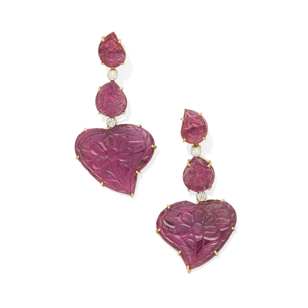 A pair of pink tourmaline and diamond earrings - Image 2 of 2