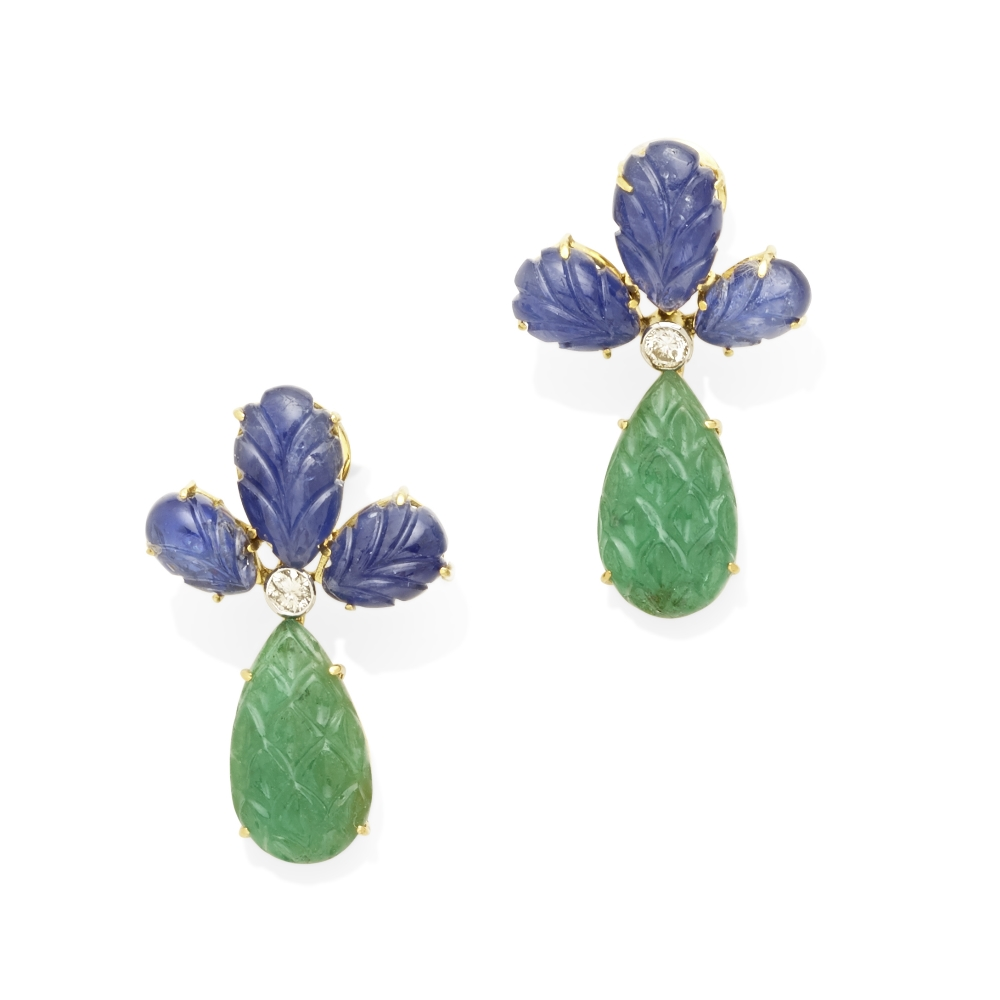 A pair of emerald, sapphire and diamond pendant earrings