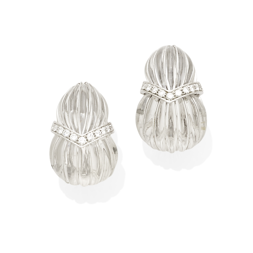 A pair of carved rock crystal and diamond ear clips, David Webb