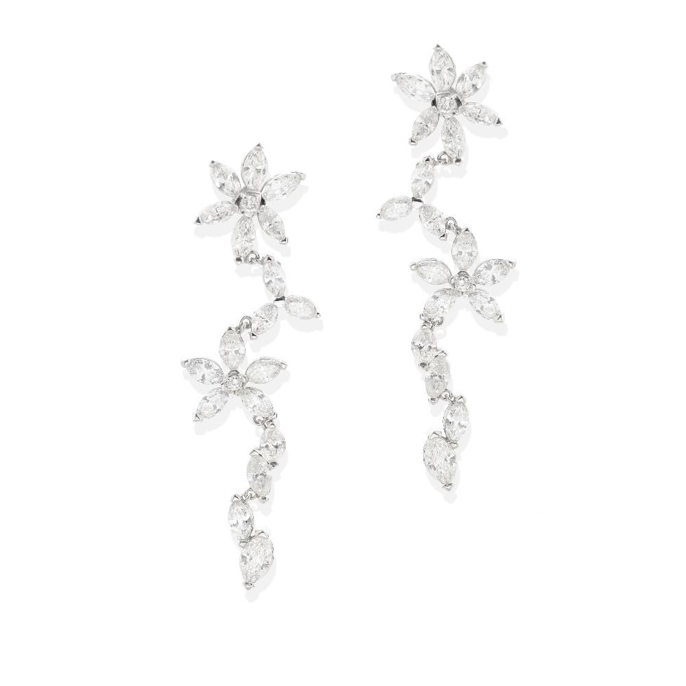 A pair of diamond pendant earrings - Image 2 of 2