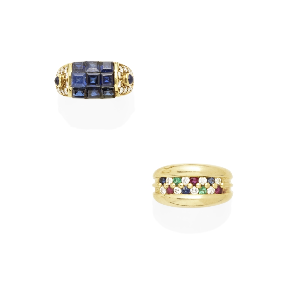 A pair of diamond and gem-set rings - Image 2 of 2