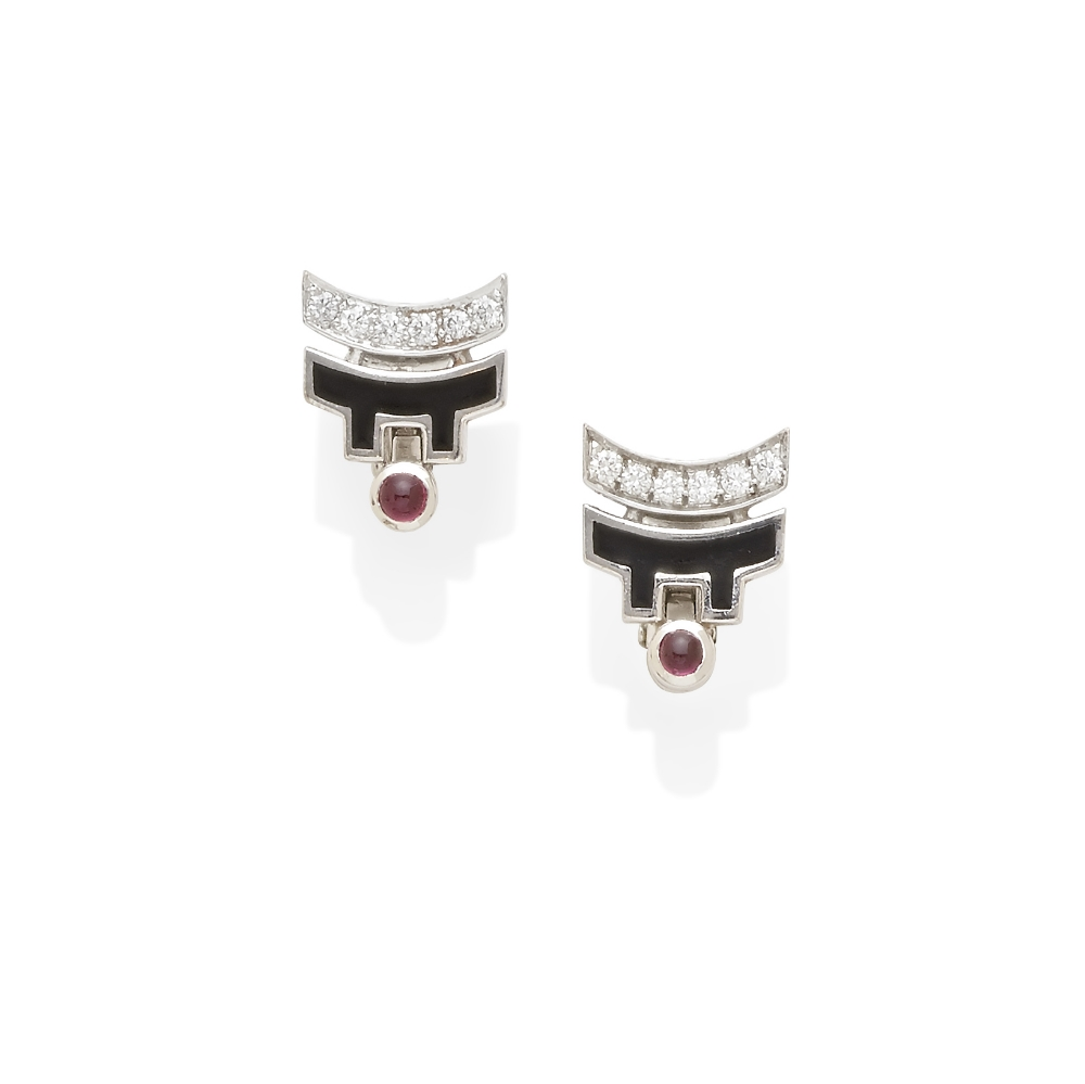 A pair of Diamond and ruby ear clips, Cartier