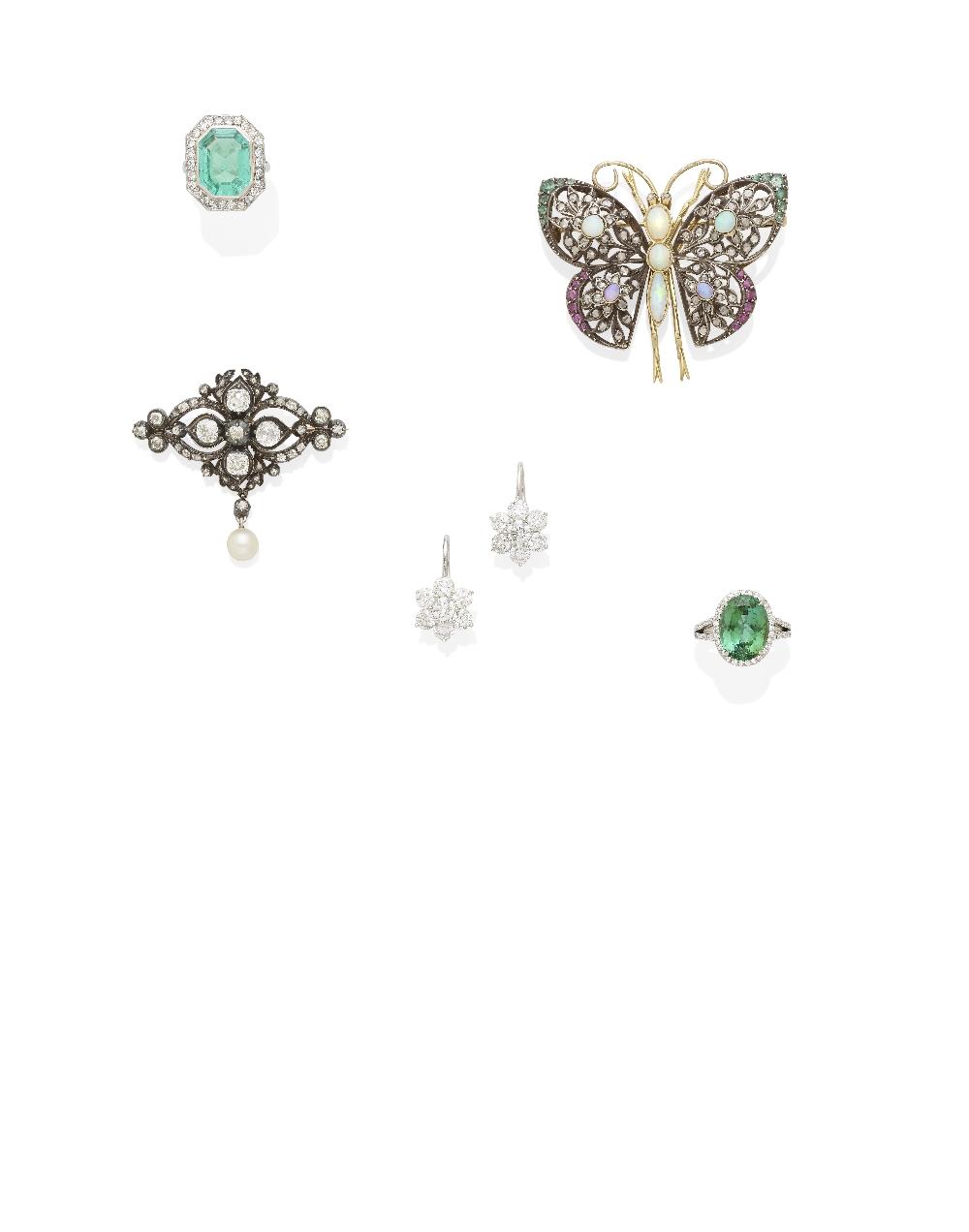 A green tourmaline and diamond ring, Tiffany & Co.