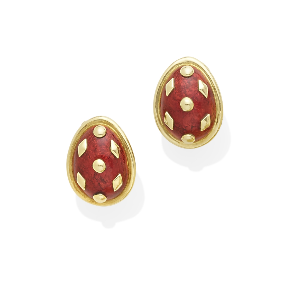 A pair of 18k gold and enamel 'Dot Lozenge' earclips, Jean Schlumberger for Tiffany & Co.