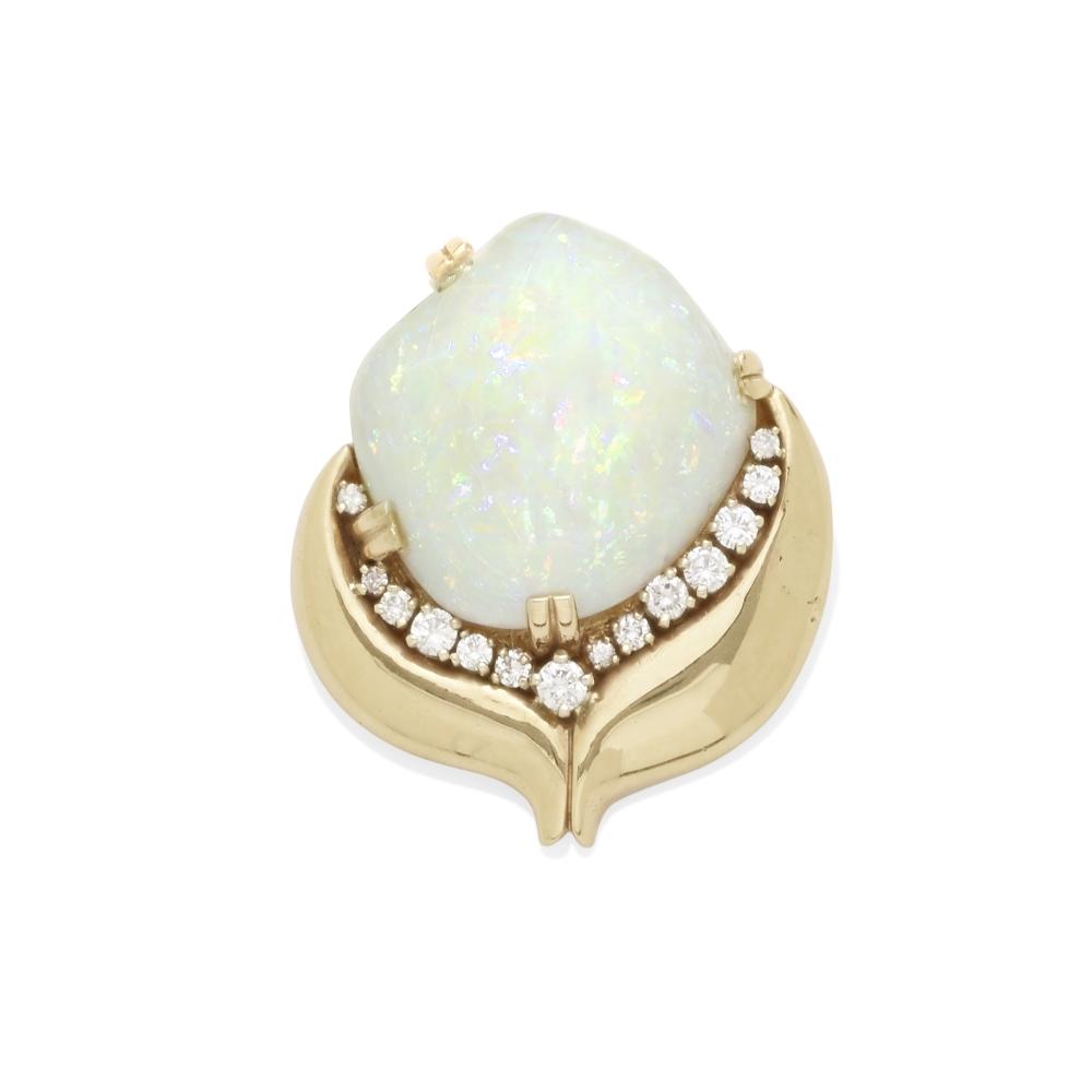 An opal and diamond convertible brooch pendant