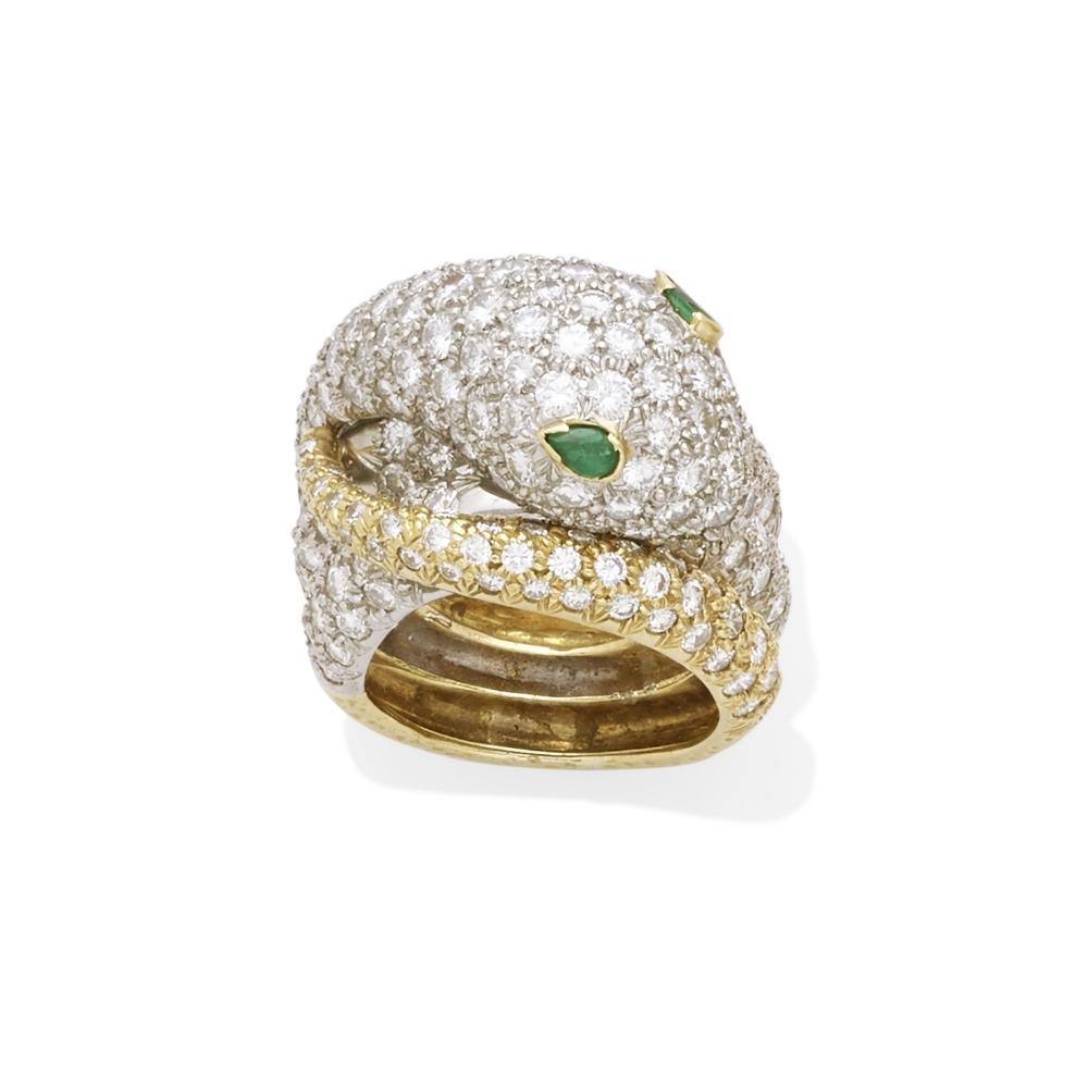A pavé diamond snake ring