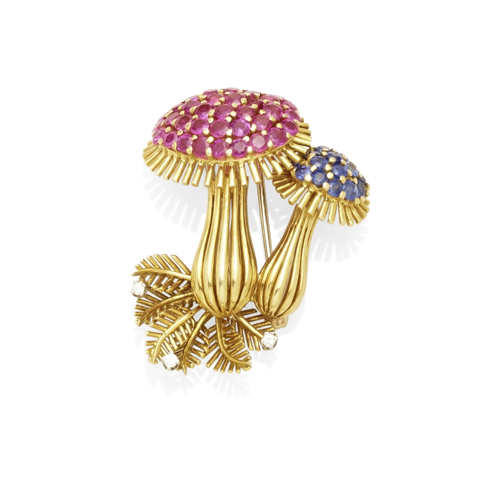 A Ruby sapphire and diamond brooch, attributed to Tiffany & Co.