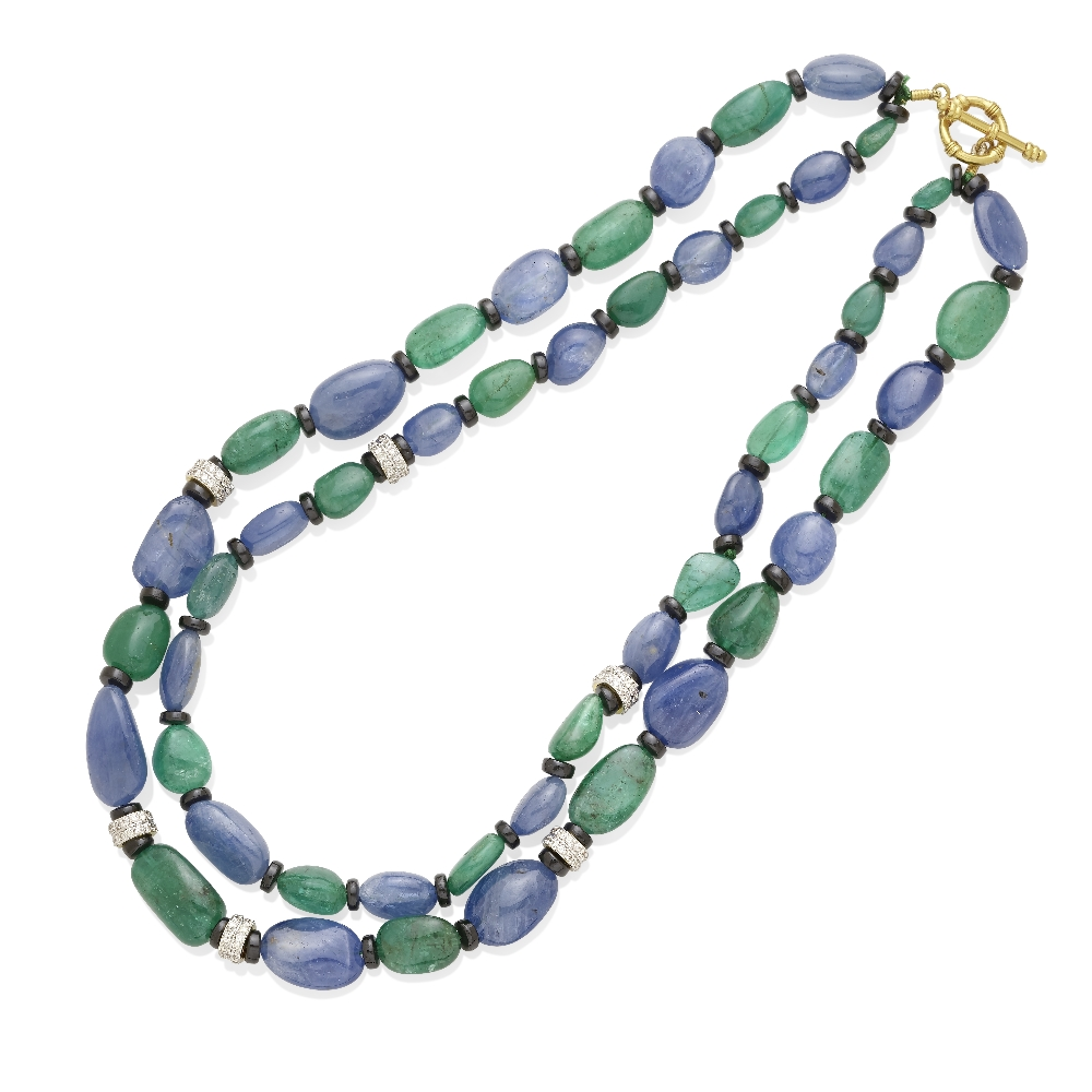 A sapphire and emerald bead necklace
