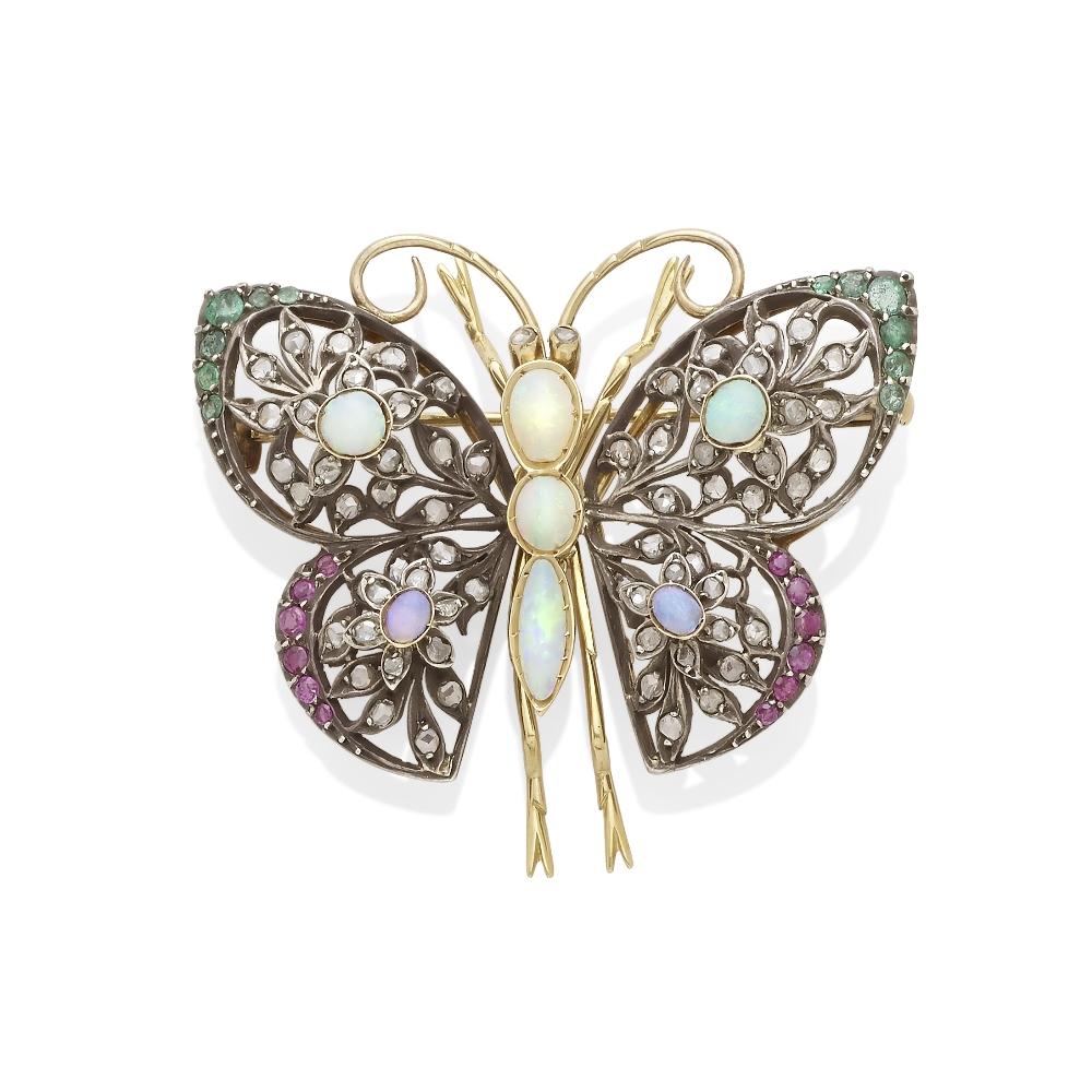 A gem-set butterfly brooch