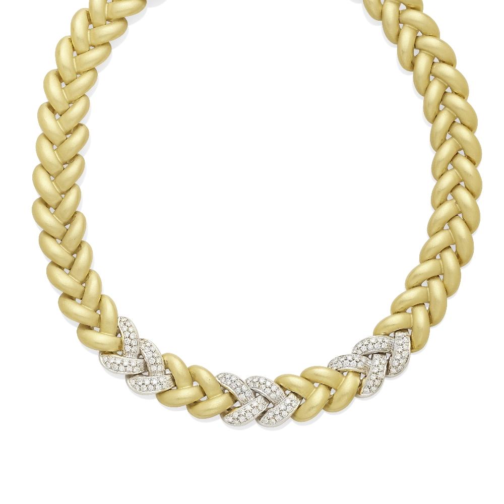 A braided link pavé diamond necklace