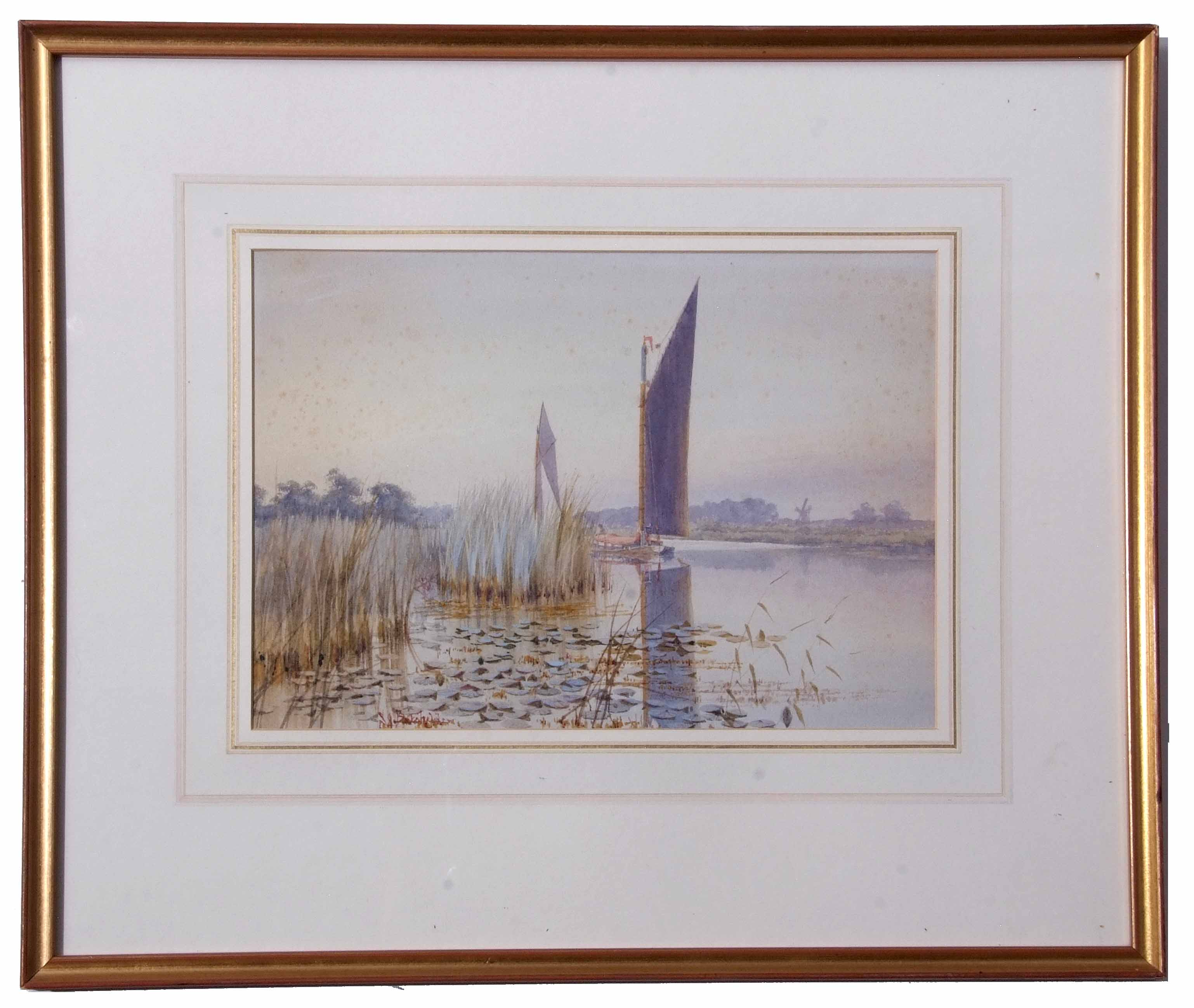 "Lot 83 - Stephen John Batchelder (1849-1932), ""The Evening Hour Nr Barton Broad"" watercolour"