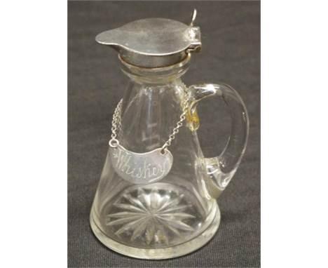 Sterling silver & crystal noggin & whiskey label hallmarked Birmingham 1916 & 1919 (label), maker: Hukin & He