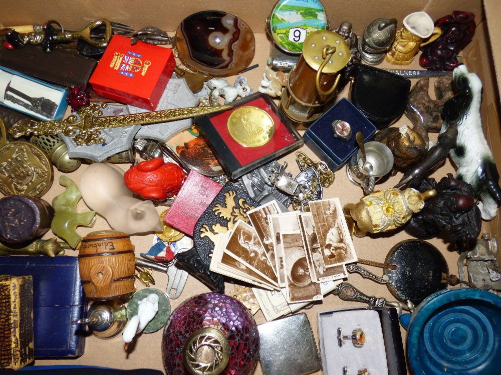 Lot 31 - MIXED BOX INCLUDING SPOONS, ORIENTAL FIGURES & TRINKET BOXES