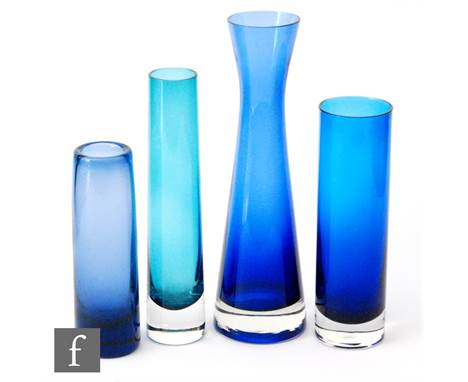 A group of four later 20th Century glass vases, all in blue, including a Holmegaard Labrador vase by Per Lutken, signed to ba