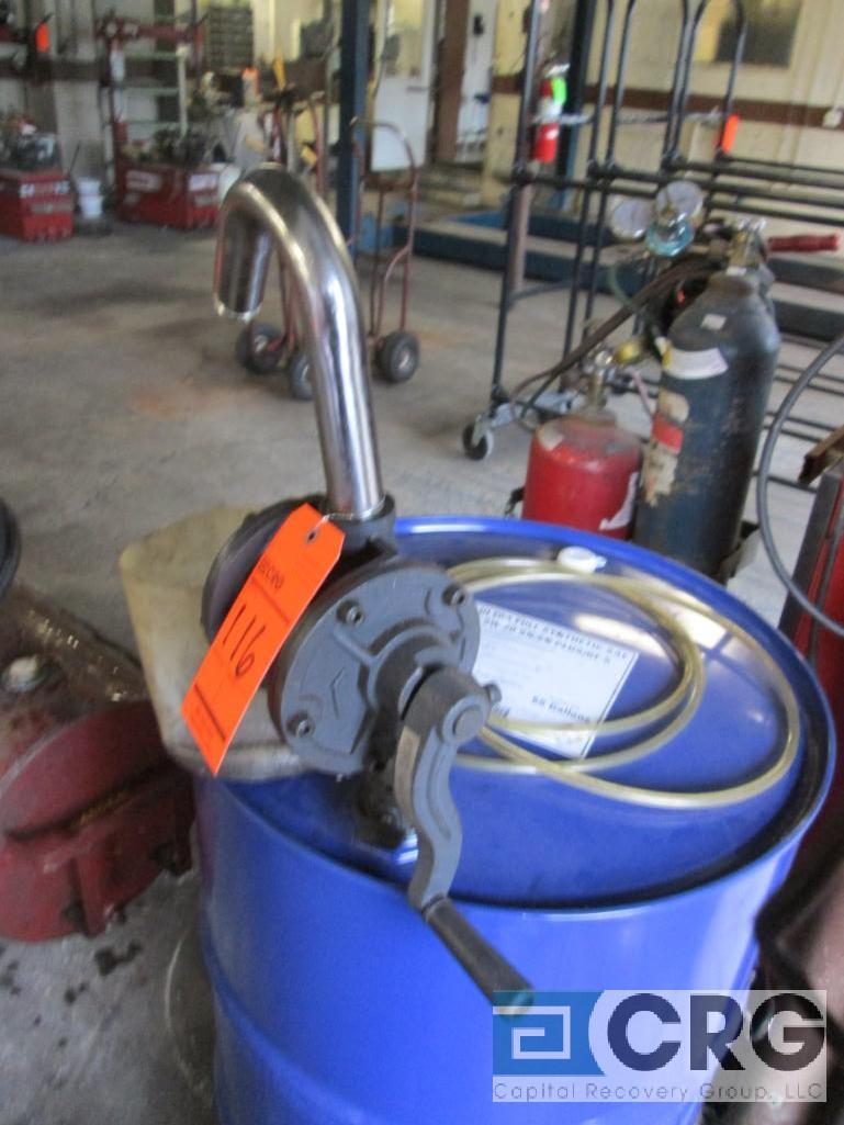 Lot includes (2) Belorank 1300-022 manual barrel pumps and 55 gal. drum approx. 1/3 full ultra - Image 2 of 3