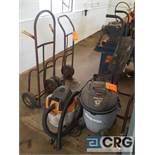 Lot includes (1) portable fan, (2) assorted shop vacs and (2)assorted hand trucks.