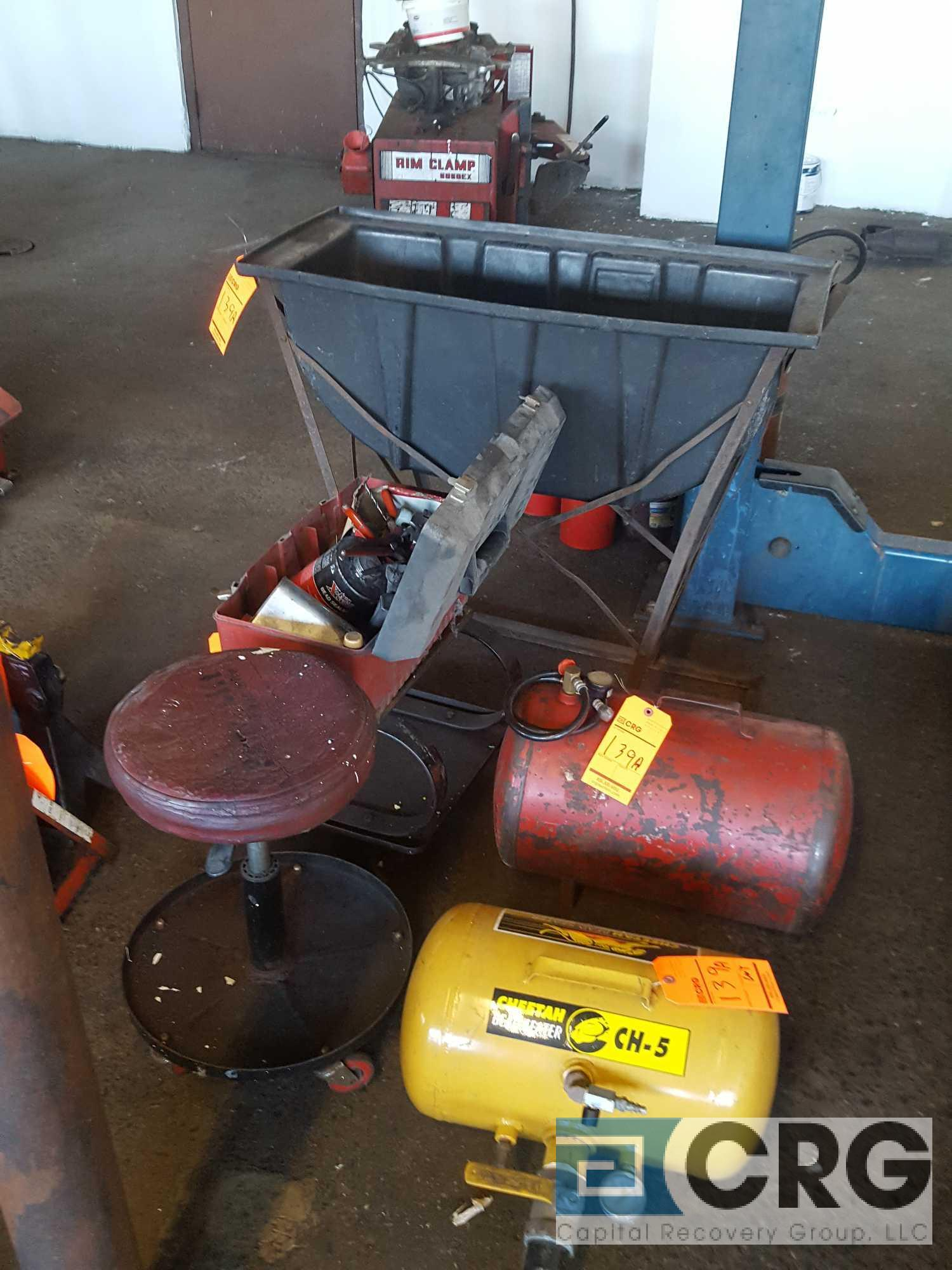 Lot of assorted tire repair devices, including (2) assorted air tanks, water tub leak detector, hand - Image 2 of 3