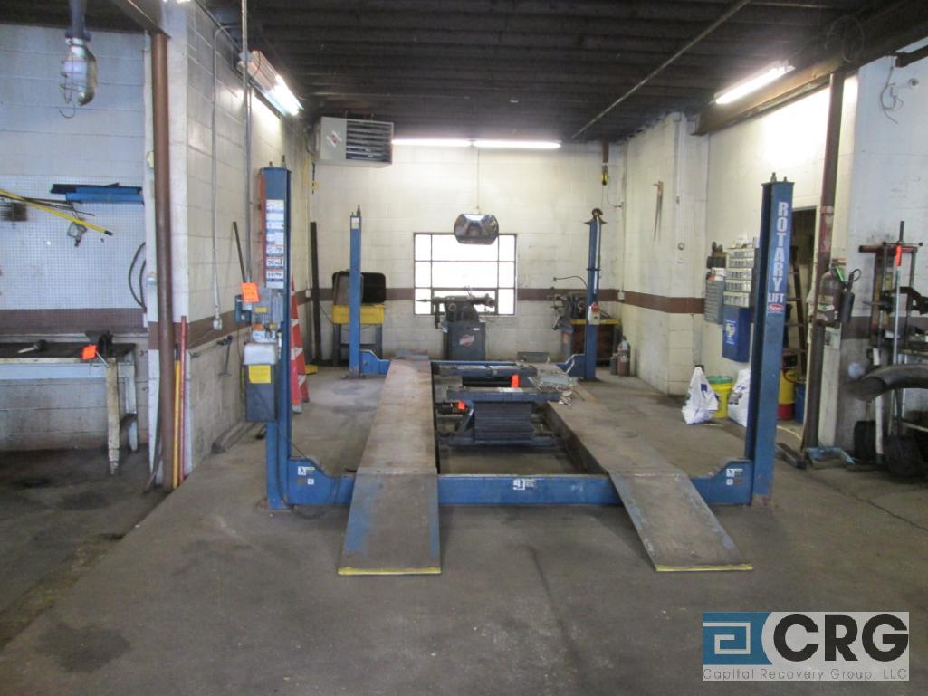 Rotary 5M123-10 4 post hydraulic auto lift, 12,000 cap., s/n SEG00C0063 - does not include air jack - Image 2 of 4