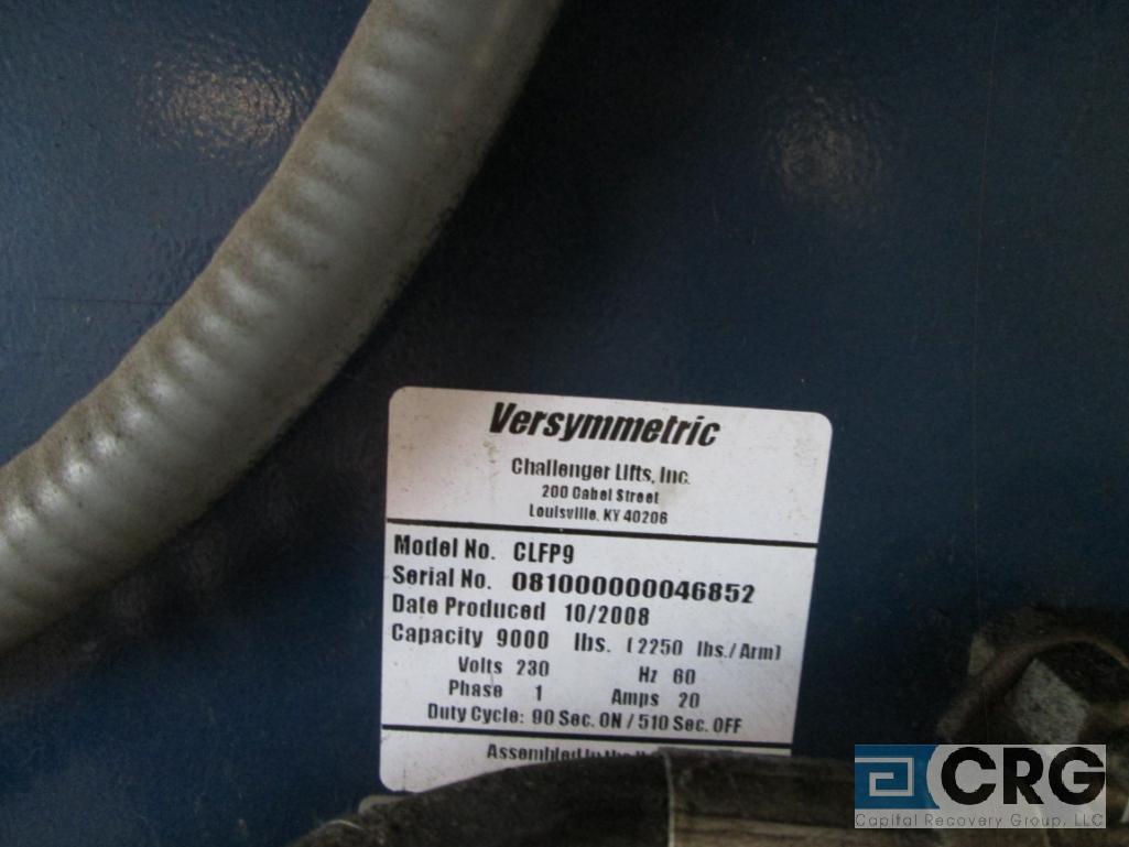 2008 Versymmetric Challenger CLFP9 2 post hydraulic auto lift, 9,000 lb. cap., 230 V, 20 amp, 1 - Image 3 of 3