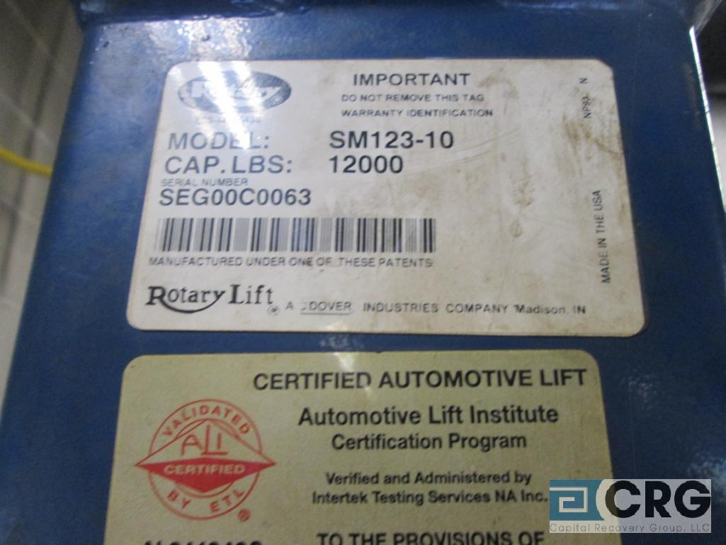 Rotary 5M123-10 4 post hydraulic auto lift, 12,000 cap., s/n SEG00C0063 - does not include air jack - Image 4 of 4