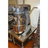 HOBART LEGACY HL 200 20 QUART MIXER WITH STAINLESS STEEL MIXER STAND ON CASTERS AND ATTACHEMENT TREE