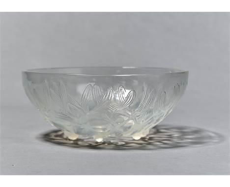 'GUI'. A LALIQUE SEMI OPALESCENT GLASS BOWL, C1930, NO 3223, DESIGNED 1921, 24CM DIA, MOULDED MARK R LALIQUE Condition report