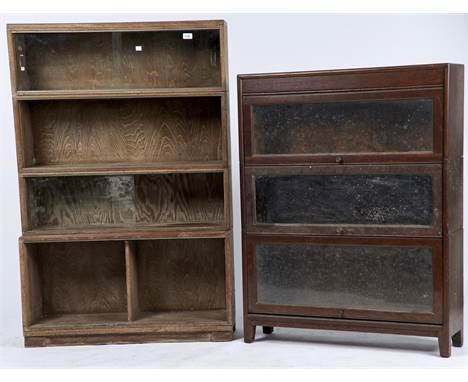 A THREE TIER OAK SECTIONAL BOOKCASE, C1950, CONVENTIONAL FORM WITH PLAIN LEGS, 112CM H X 87CM W; TOGETHER WITH A MINTY FOUR S