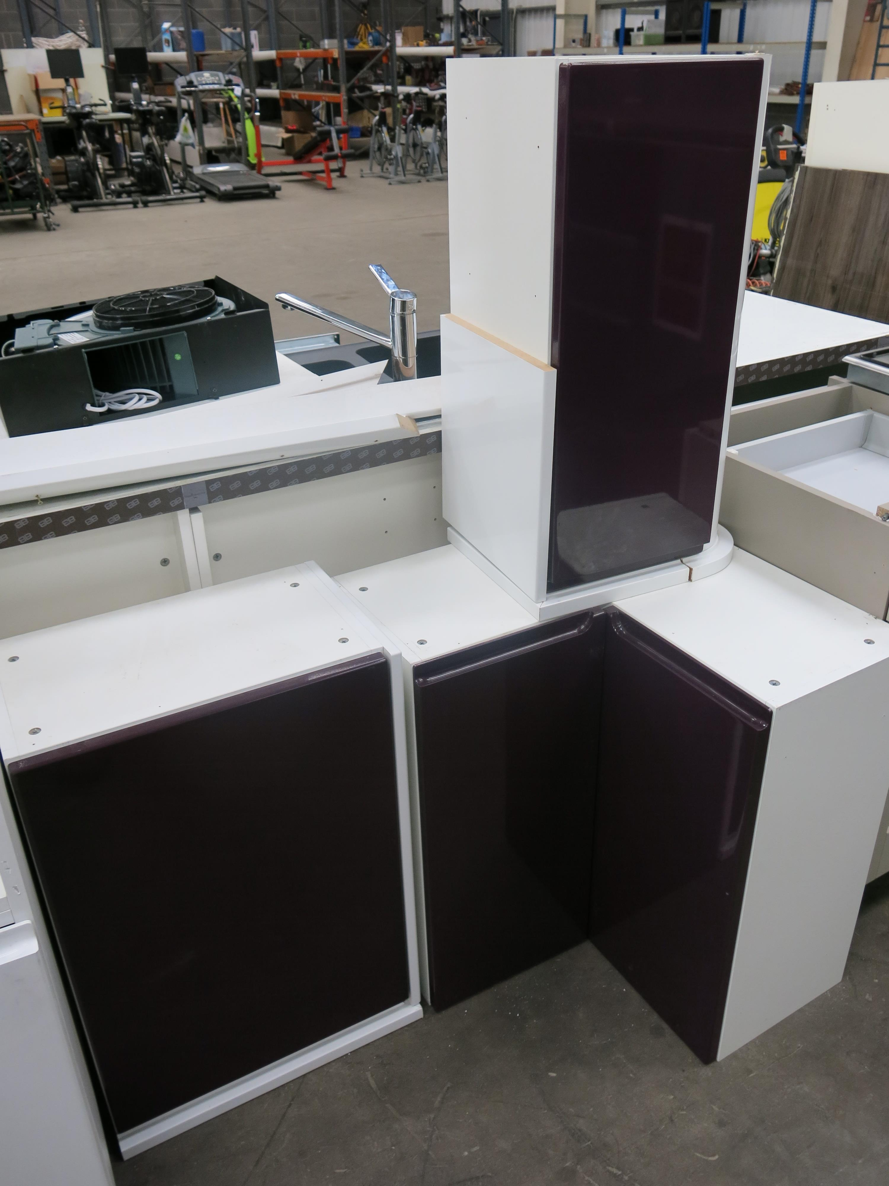 Ex display kitchen units in gloss white with purple doors for White gloss tall kitchen units