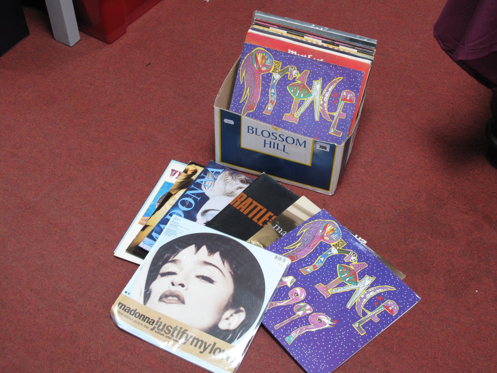 """Lot 706 - Madonna 'Justify My Love' Limited Edition 12"""" Picture Disc, Prince 1999 LP, U2 'Rattle and Hum'"""