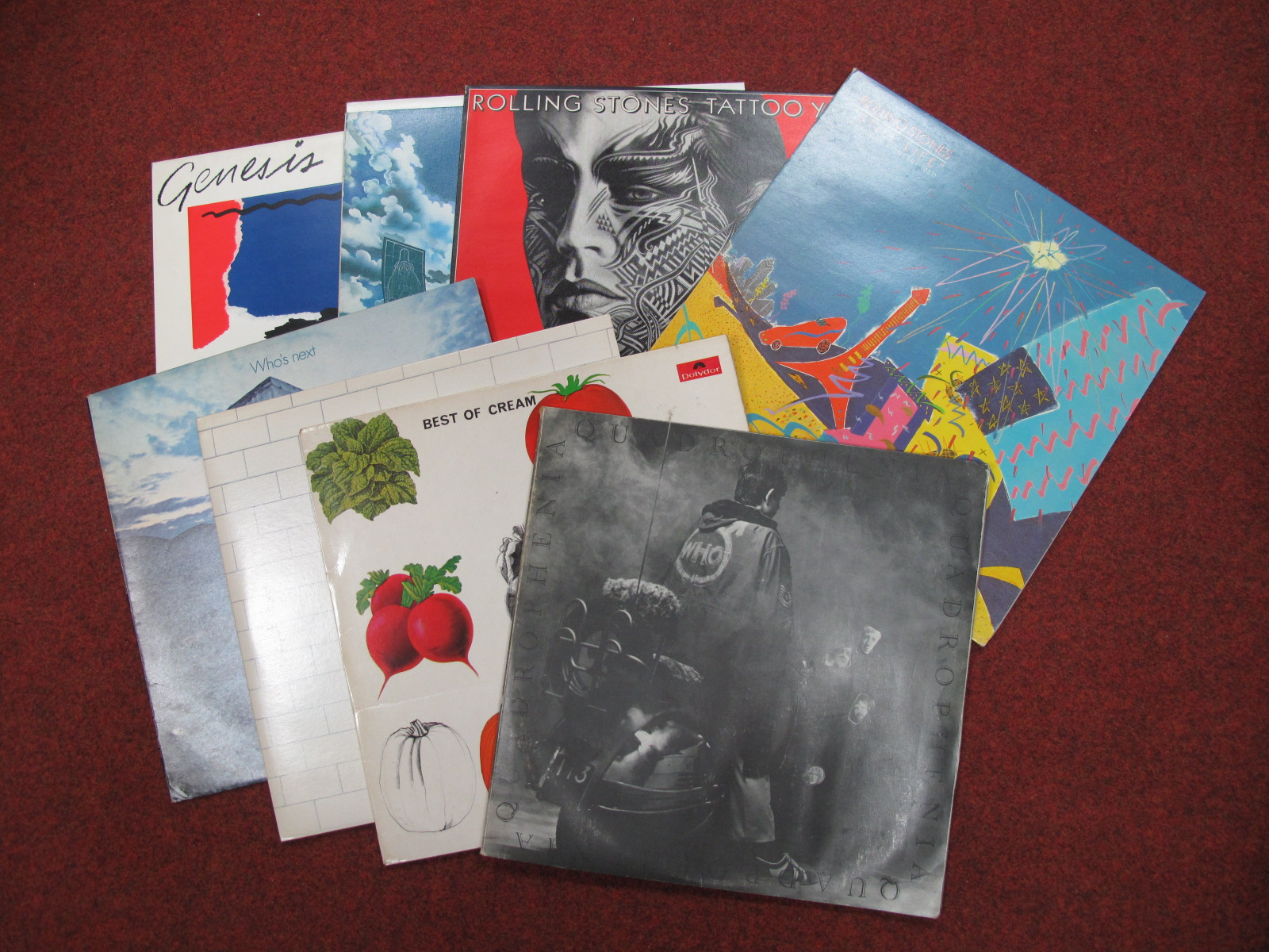 Lot 749 - Pink Floyd 'The Wall' Two LP, The Who's 'Quadrophenia', and 'Who's Next', Cream 'Best Of', Rolling