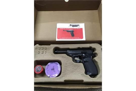 A boxed CO2 Crosman air pistol, model 338 auto, complete