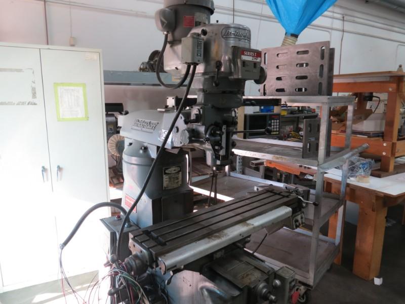 Lot 59 - Bridgeport Vertical Mill Digital Reader Series 12Hp, 9x42 Table W/ Wizard 211DRO S/N229755