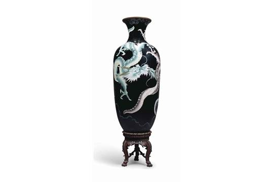 A Very Large Japanese Cloisonne Vase 20th Century Decorated With