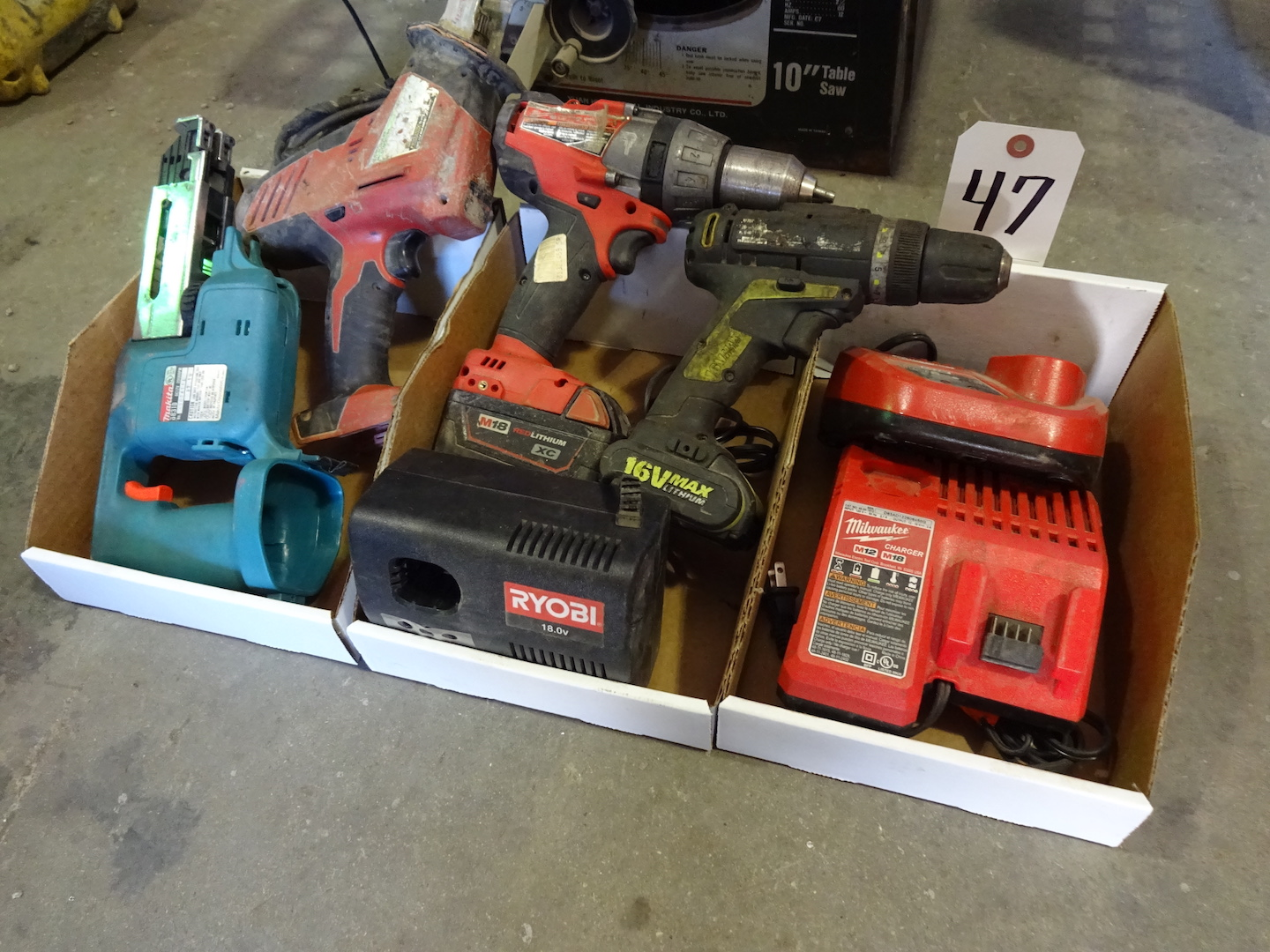 Lot 47 - ASSORTED CORDLESS TOOLS & CHARGERS, MILWAUKEE DRILL AND SAW, MAKITA SAW, ETC., MOST DO NOT HAVE