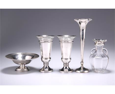 A PAIR OF GEORGE V SILVER VASES,by Harry Synyer & Charles Joseph Beddoes, Birmingham 1915, the tapering bodies with