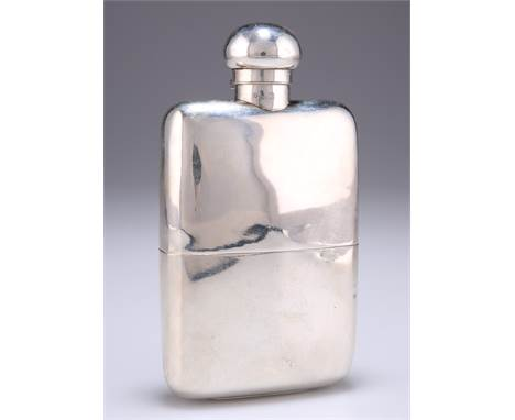 A GEORGE V SILVER HIP FLASK AND CUP, by Finnigans Ltd, London 1910, the plain flask shaped for the pocket, with hin