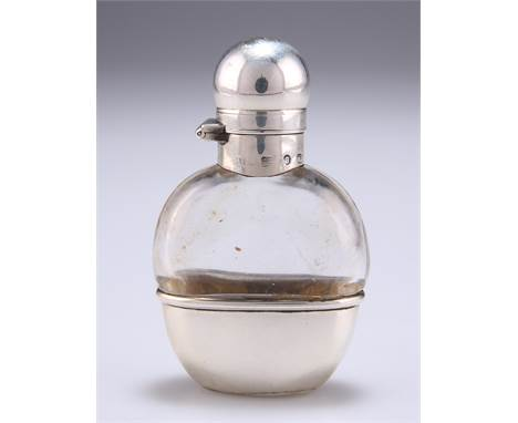 A LATE VICTORIAN SILVER-MOUNTED SMALL GLASS HIP FLASK, by Henry Matthews, Birmingham 1892, ovoid with plain twist a
