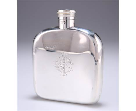 A VICTORIAN SILVER HIP FLASK, by Thomas Johnson I, London 1870, rounded square form, shaped for the pocket, push-bu