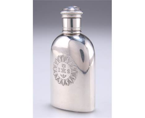 A SMALL VICTORIAN SILVER HIP FLASK, London 1840, of shouldered sack-form with screw cap, engraved with initials to the centre